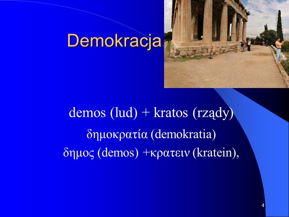 4 Demokracja demos (lud) + kratos (rządy) δημοκρατία (demokratia) δημος (demos) +κρατειν (kratein),