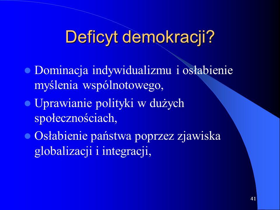 Deficyt demokracji? Dominacja indywidualizmu i osłabienie myślenia wspólnotowego, Uprawianie polityki w dużych społecznościach, Osłabienie państwa pop