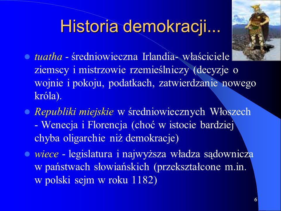 6 Historia demokracji... tuatha - średniowieczna Irlandia- właściciele ziemscy i mistrzowie rzemieślniczy (decyzje o wojnie i pokoju, podatkach, zatwi