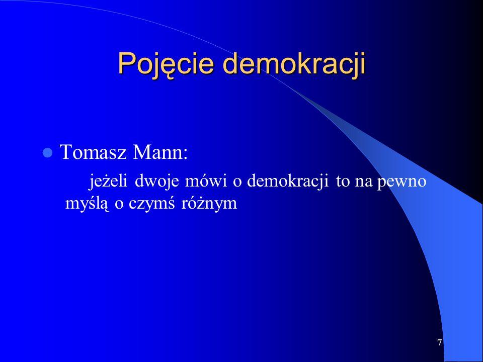 18 Demokracja współcześnie wybór władzy w drodze wolnych i uczciwych wyborów możliwością kandydowania do ciał tworzących władzę przez wszystkich obywateli rządy prawa i jawność stanowienia prawa prawa człowieka