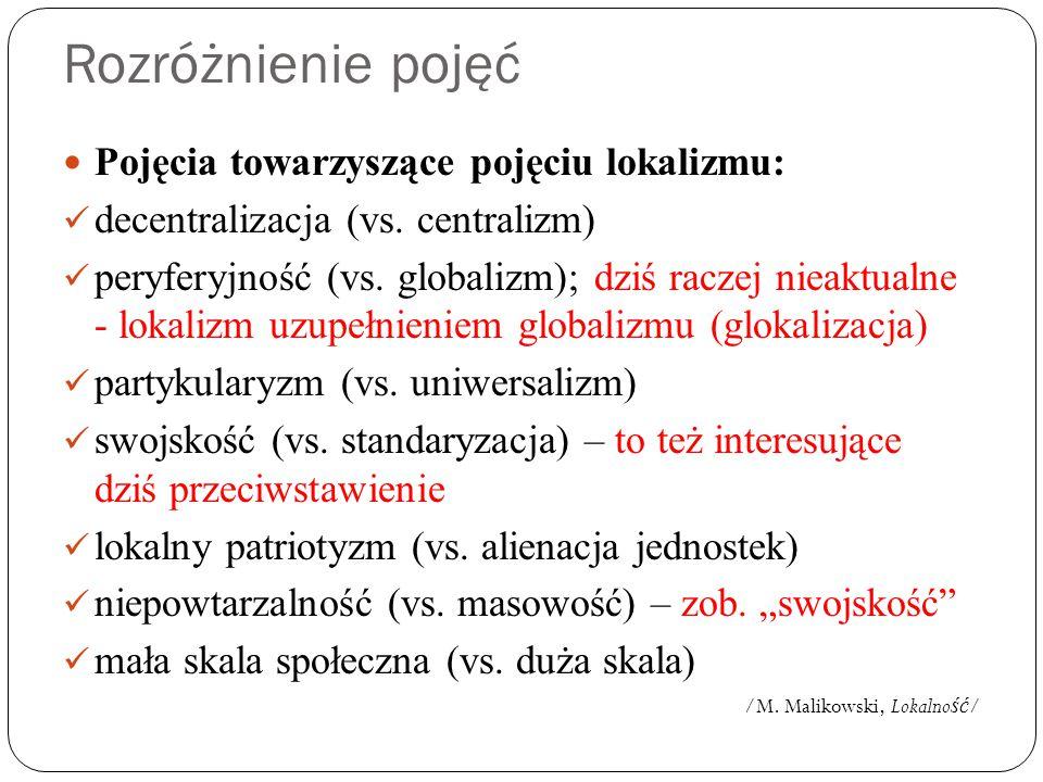 Pojęcia towarzyszące pojęciu lokalizmu: decentralizacja (vs. centralizm) peryferyjność (vs. globalizm); dziś raczej nieaktualne - lokalizm uzupełnieni