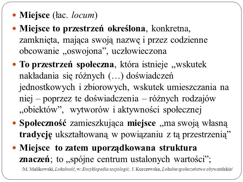 """Miejsce (łac. locum) Miejsce to przestrzeń określona, konkretna, zamknięta, mająca swoją nazwę i przez codzienne obcowanie """"oswojona"""", uczłowieczona T"""
