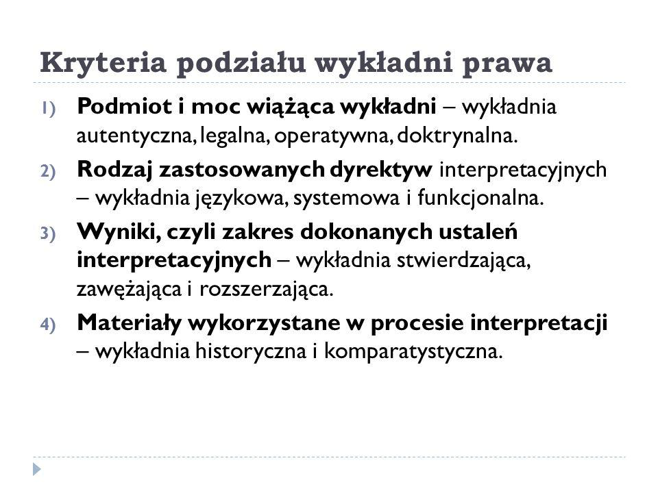 Kryteria podziału wykładni prawa 1) Podmiot i moc wiążąca wykładni – wykładnia autentyczna, legalna, operatywna, doktrynalna. 2) Rodzaj zastosowanych