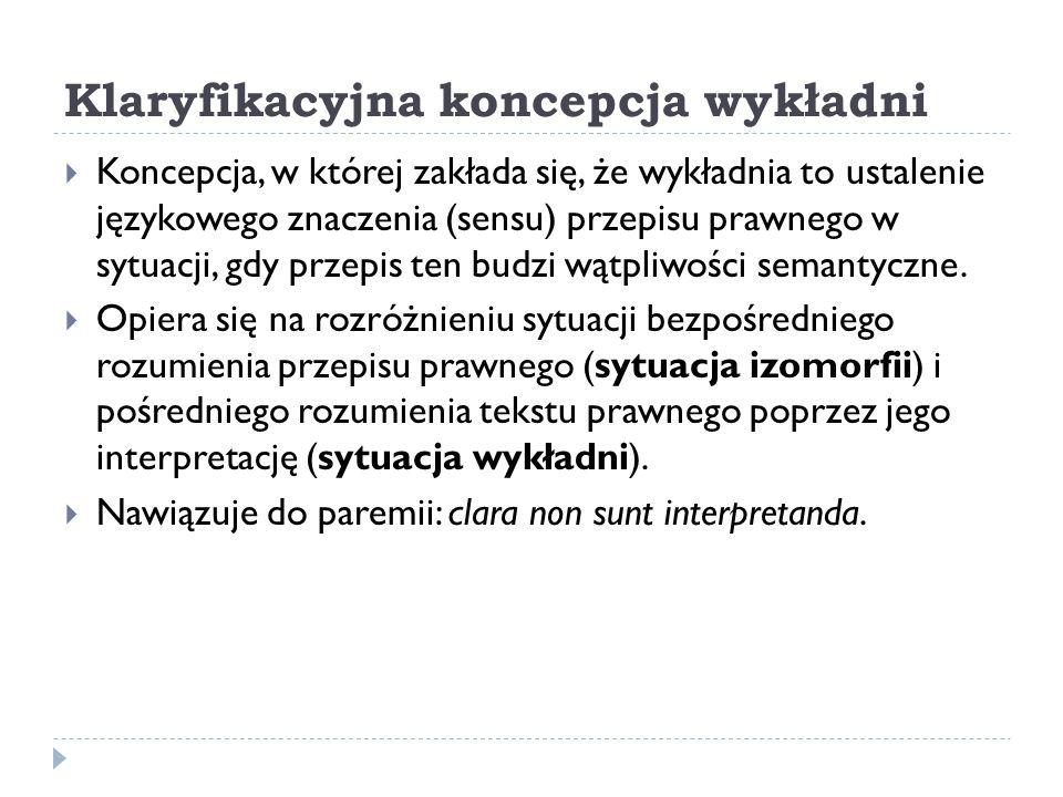 Klaryfikacyjna koncepcja wykładni  Koncepcja, w której zakłada się, że wykładnia to ustalenie językowego znaczenia (sensu) przepisu prawnego w sytuac