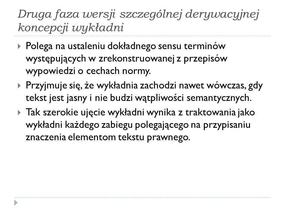 Druga faza wersji szczególnej derywacyjnej koncepcji wykładni  Polega na ustaleniu dokładnego sensu terminów występujących w zrekonstruowanej z przep