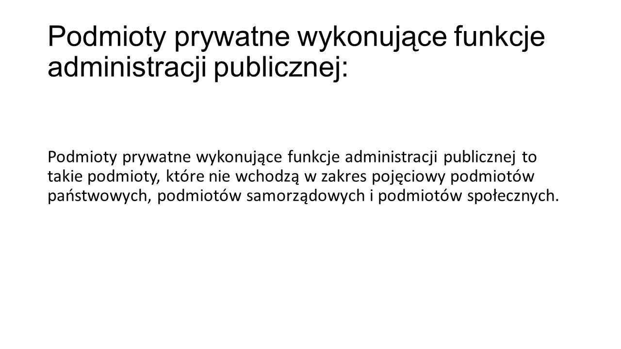 Podmioty prywatne wykonujące funkcje administracji publicznej: Podmioty prywatne wykonujące funkcje administracji publicznej to takie podmioty, które
