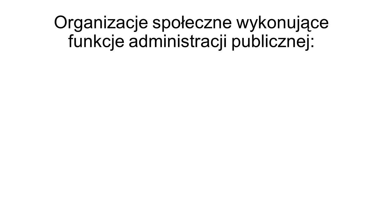 Organizacje społeczne wykonujące funkcje administracji publicznej: