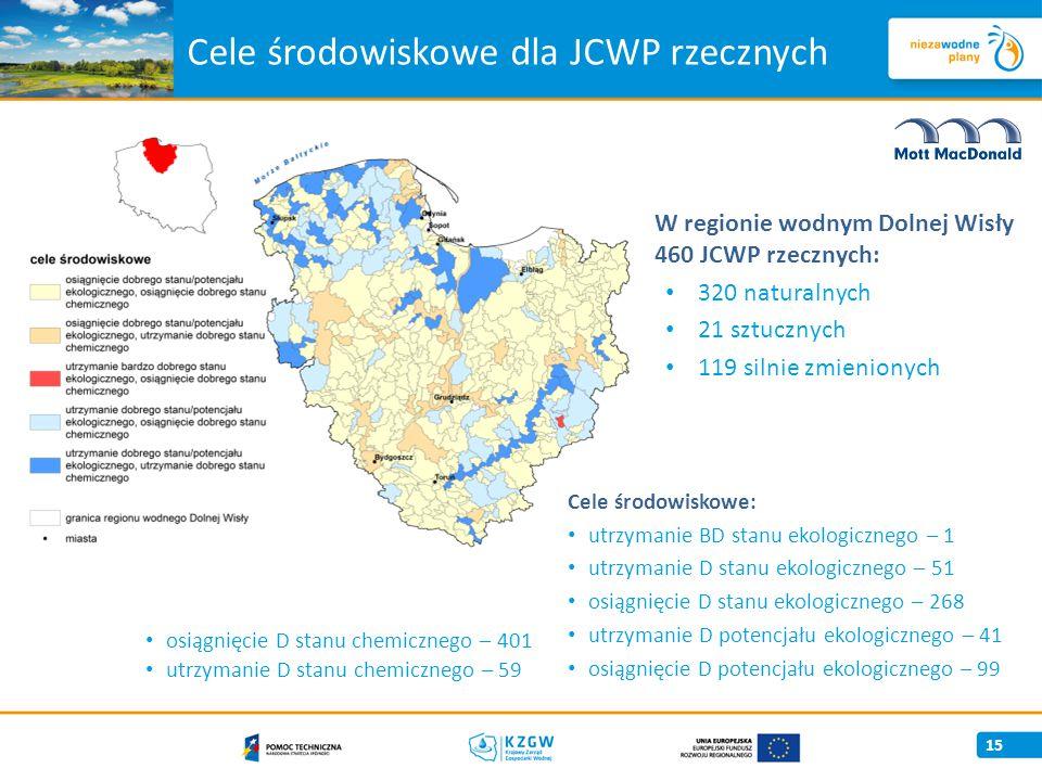 Cele środowiskowe dla JCWP rzecznych 15 W regionie wodnym Dolnej Wisły 460 JCWP rzecznych: 320 naturalnych 21 sztucznych 119 silnie zmienionych Cele środowiskowe: utrzymanie BD stanu ekologicznego – 1 utrzymanie D stanu ekologicznego – 51 osiągnięcie D stanu ekologicznego – 268 utrzymanie D potencjału ekologicznego – 41 osiągnięcie D potencjału ekologicznego – 99 osiągnięcie D stanu chemicznego – 401 utrzymanie D stanu chemicznego – 59