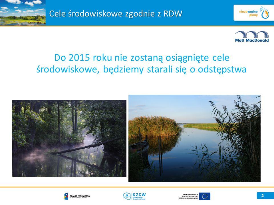 Do 2015 roku nie zostaną osiągnięte cele środowiskowe, będziemy starali się o odstępstwa 2 Cele środowiskowe zgodnie z RDW