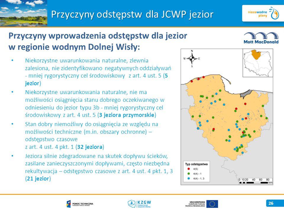 Przyczyny odstępstw dla JCWP jezior 26 Przyczyny wprowadzenia odstępstw dla jezior w regionie wodnym Dolnej Wisły: Niekorzystne uwarunkowania naturalne, zlewnia zalesiona, nie zidentyfikowano negatywnych oddziaływań - mniej rygorystyczny cel środowiskowy z art.