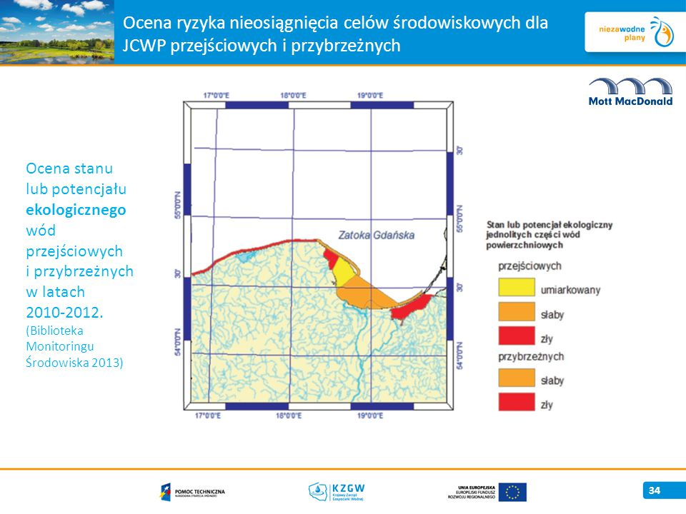 Ocena ryzyka nieosiągnięcia celów środowiskowych dla JCWP przejściowych i przybrzeżnych 34 Ocena stanu lub potencjału ekologicznego wód przejściowych i przybrzeżnych w latach 2010-2012.