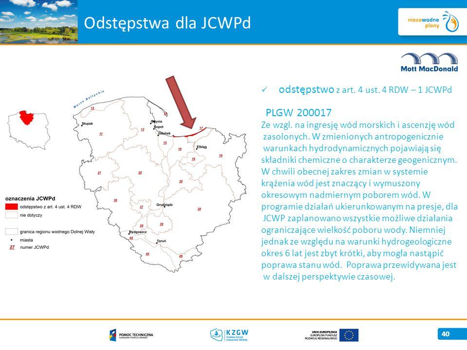 odstępstwo z art.4 ust. 4 RDW – 1 JCWPd PLGW 200017 Ze wzgl.