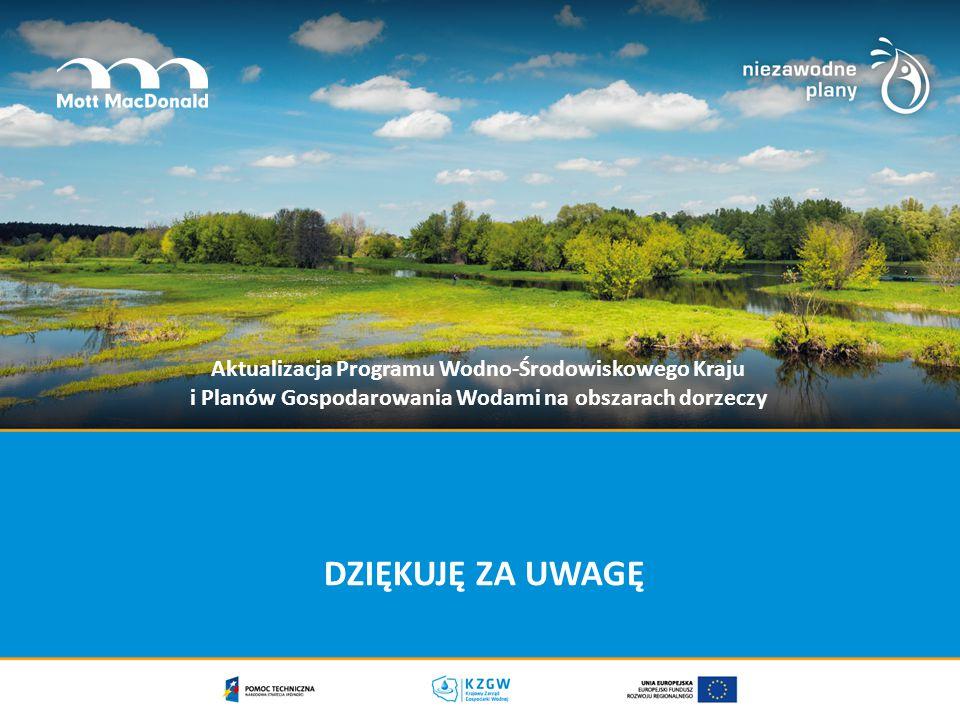 DZIĘKUJĘ ZA UWAGĘ Aktualizacja Programu Wodno-Środowiskowego Kraju i Planów Gospodarowania Wodami na obszarach dorzeczy