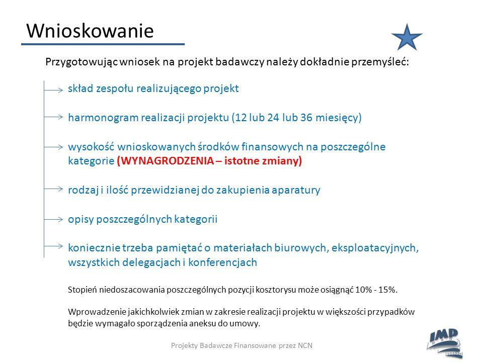 Projekty Badawcze Finansowane przez NCN Wnioskowanie Przygotowując wniosek na projekt badawczy należy dokładnie przemyśleć: skład zespołu realizująceg