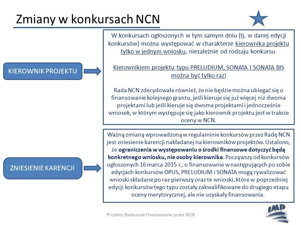 Projekty Badawcze Finansowane przez NCN Zmiany w konkursach NCN KIEROWNIK PROJEKTU W konkursach ogłoszonych w tym samym dniu (tj. w danej edycji konku