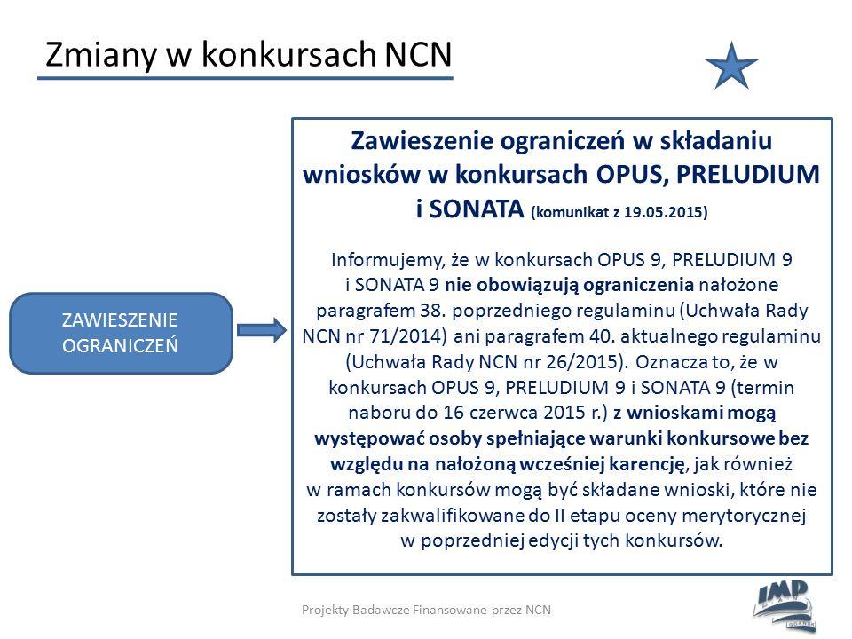 Projekty Badawcze Finansowane przez NCN Zmiany w konkursach NCN Zawieszenie ograniczeń w składaniu wniosków w konkursach OPUS, PRELUDIUM i SONATA (kom