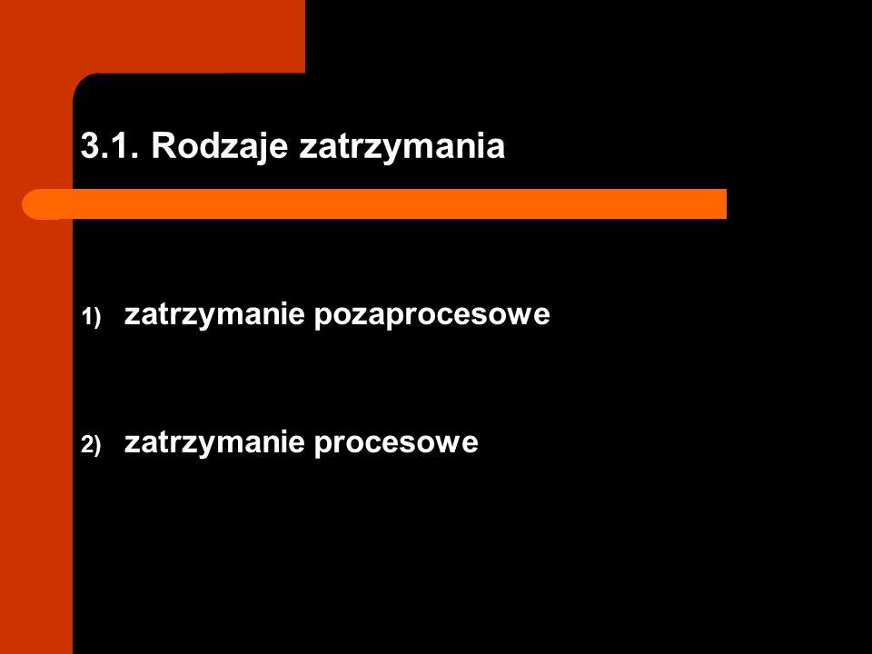 3.1. Rodzaje zatrzymania 1) zatrzymanie pozaprocesowe 2) zatrzymanie procesowe