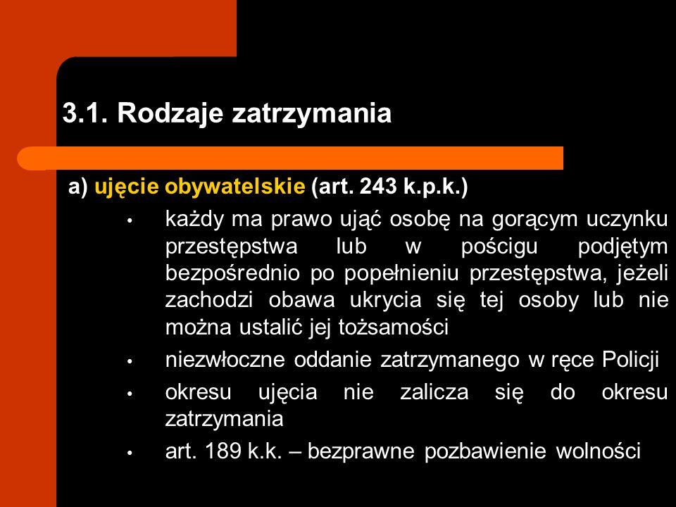 3.1.Rodzaje zatrzymania a) ujęcie obywatelskie (art.