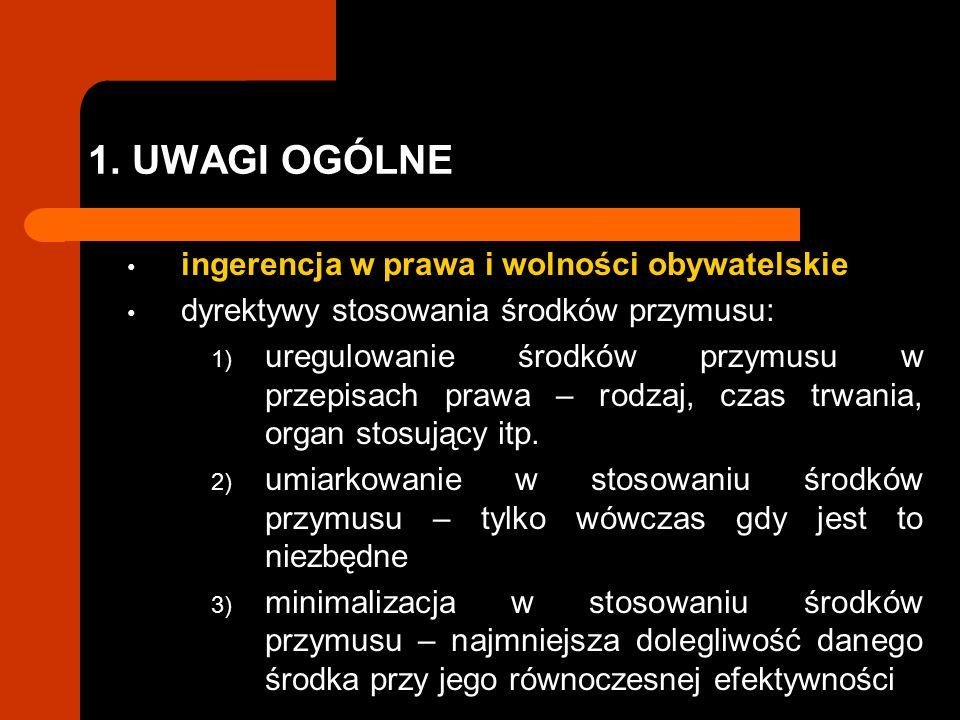 1. UWAGI OGÓLNE ingerencja w prawa i wolności obywatelskie dyrektywy stosowania środków przymusu: 1) uregulowanie środków przymusu w przepisach prawa