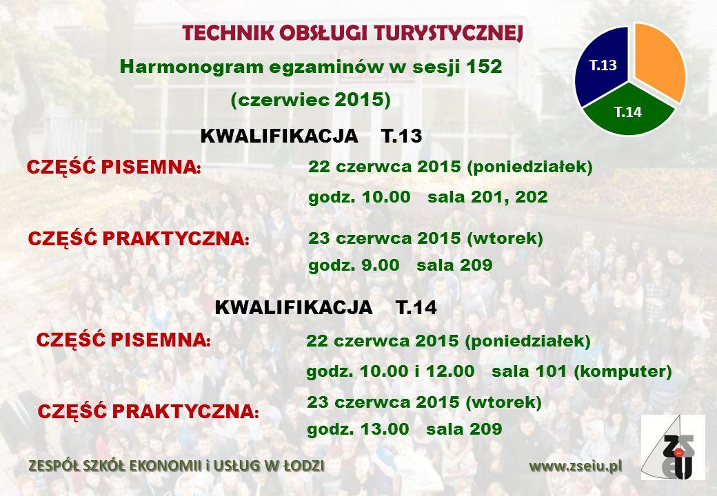 Harmonogram egzaminów w sesji 152 (czerwiec 2015) KWALIFIKACJA T.13 ZESPÓŁ SZKÓŁ EKONOMII i USŁUG W ŁODZI www.zseiu.pl T.14 T.13 CZĘŚĆ PISEMNA : 22 czerwca 2015 (poniedziałek) godz.