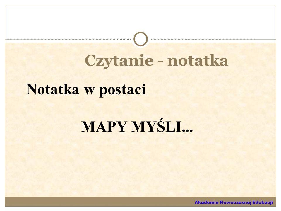 Czytanie - notatka Notatka w postaci MAPY MYŚLI... Akademia Nowoczesnej Edukacji