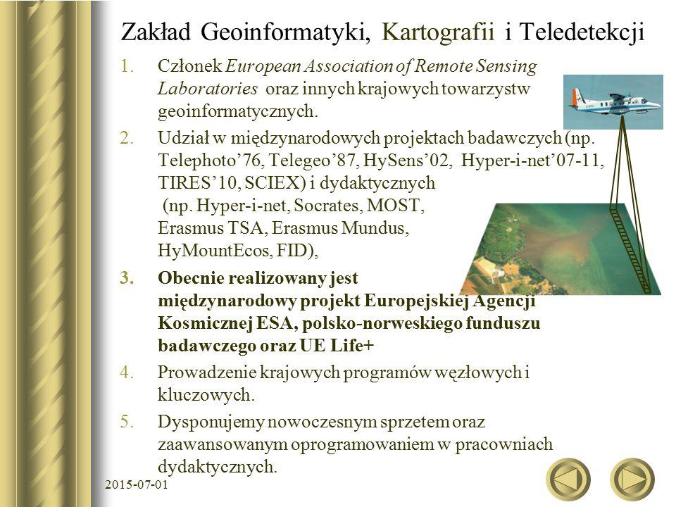 1.Członek European Association of Remote Sensing Laboratories oraz innych krajowych towarzystw geoinformatycznych.