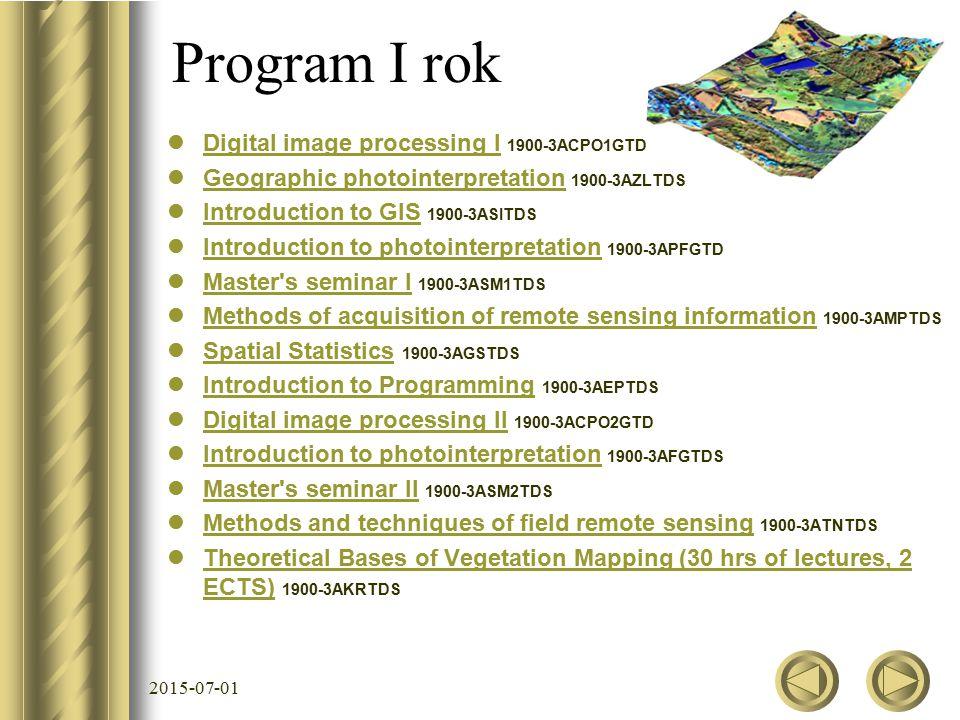 Program I rok Digital image processing I 1900-3ACPO1GTD Digital image processing I Geographic photointerpretation 1900-3AZLTDS Geographic photointerpr