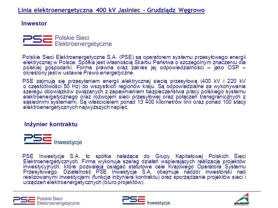 Linia elektroenergetyczna 400 kV Jasiniec – Grudziądz Węgrowo Wykonawca – Konsorcjum firm: PILE Elbud S.A.