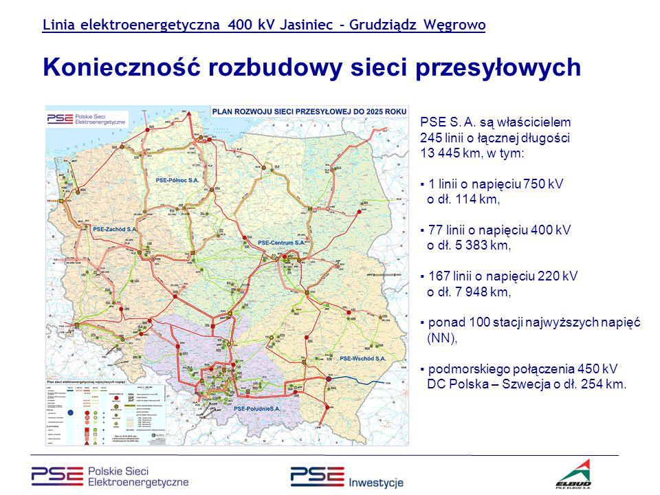 Linia elektroenergetyczna 400 kV Jasiniec – Grudziądz Węgrowo Proponowany wariant trasy linii Linia 400 kV Jasiniec - Grudziądz przebiegała będzie przez województwo kujawsko-pomorskie, a w nim przez 5 powiatów (bydgoski, toruński, chełmiński, wąbrzeski i grudziądzki) oraz 2 miasta (Bydgoszcz i Grudziądz) i 9 gmin (Osielsko, Dąbrowa, Zławieś Wielka, Unisław, Kijewo Królewskie, Papowo Biskupie, Lisewo, Płużnica, Grudziądz).