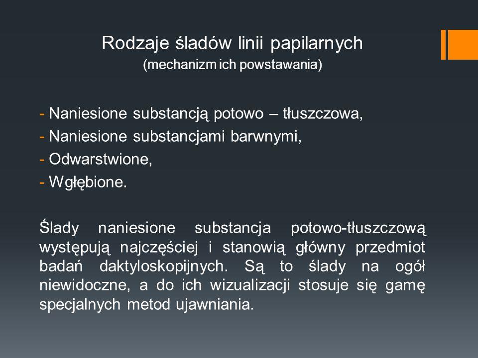 Rodzaje śladów linii papilarnych (mechanizm ich powstawania) -Naniesione substancją potowo – tłuszczowa, -Naniesione substancjami barwnymi, -Odwarstwi