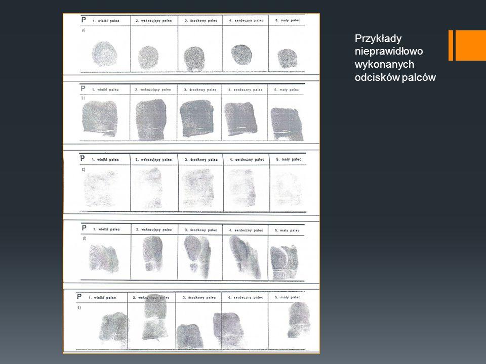 Przykłady nieprawidłowo wykonanych odcisków palców