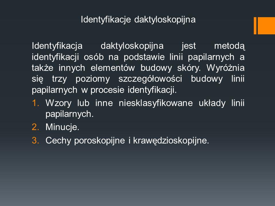 Identyfikacje daktyloskopijna Identyfikacja daktyloskopijna jest metodą identyfikacji osób na podstawie linii papilarnych a także innych elementów bud