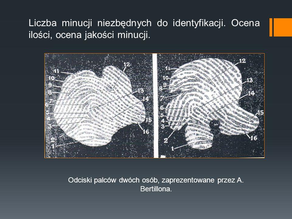 Liczba minucji niezbędnych do identyfikacji. Ocena ilości, ocena jakości minucji. Odciski palców dwóch osób, zaprezentowane przez A. Bertillona.