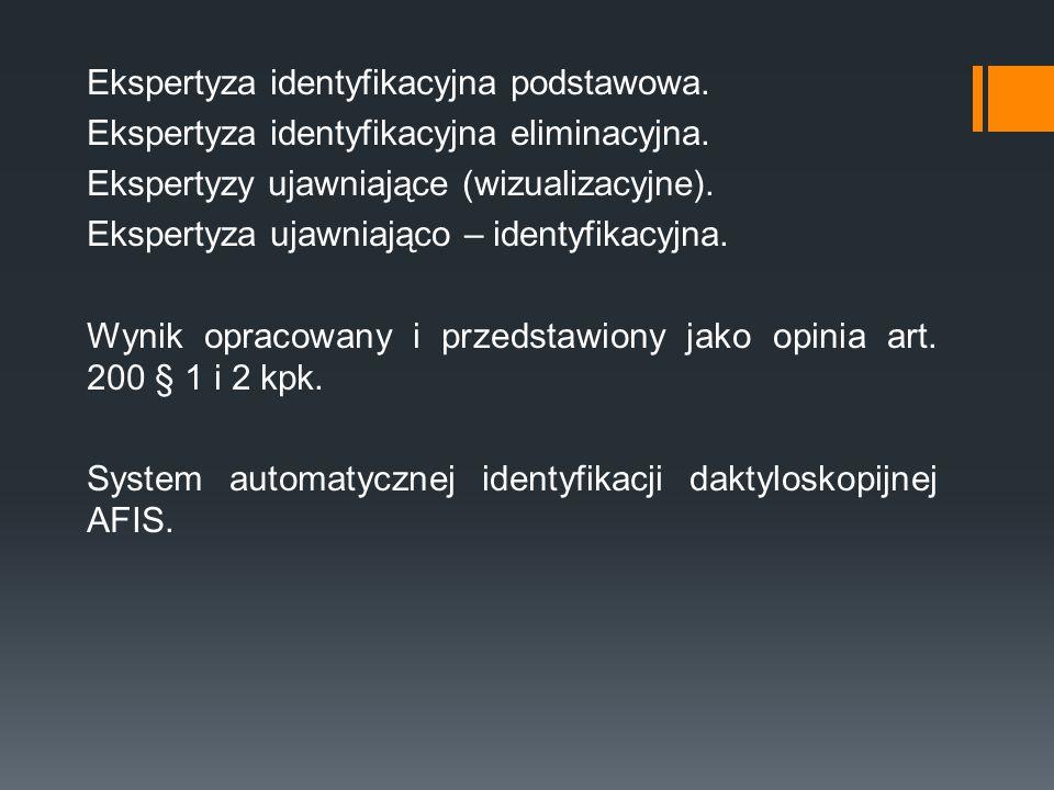 Ekspertyza identyfikacyjna podstawowa. Ekspertyza identyfikacyjna eliminacyjna. Ekspertyzy ujawniające (wizualizacyjne). Ekspertyza ujawniająco – iden