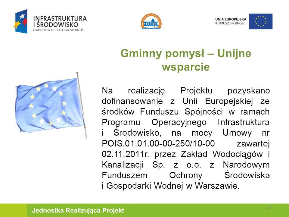 Gminny pomysł – Unijne wsparcie Na realizację Projektu pozyskano dofinansowanie z Unii Europejskiej ze środków Funduszu Spójności w ramach Programu Operacyjnego Infrastruktura i Środowisko, na mocy Umowy nr POIS.01.01.00-00-250/10-00 zawartej 02.11.2011r.