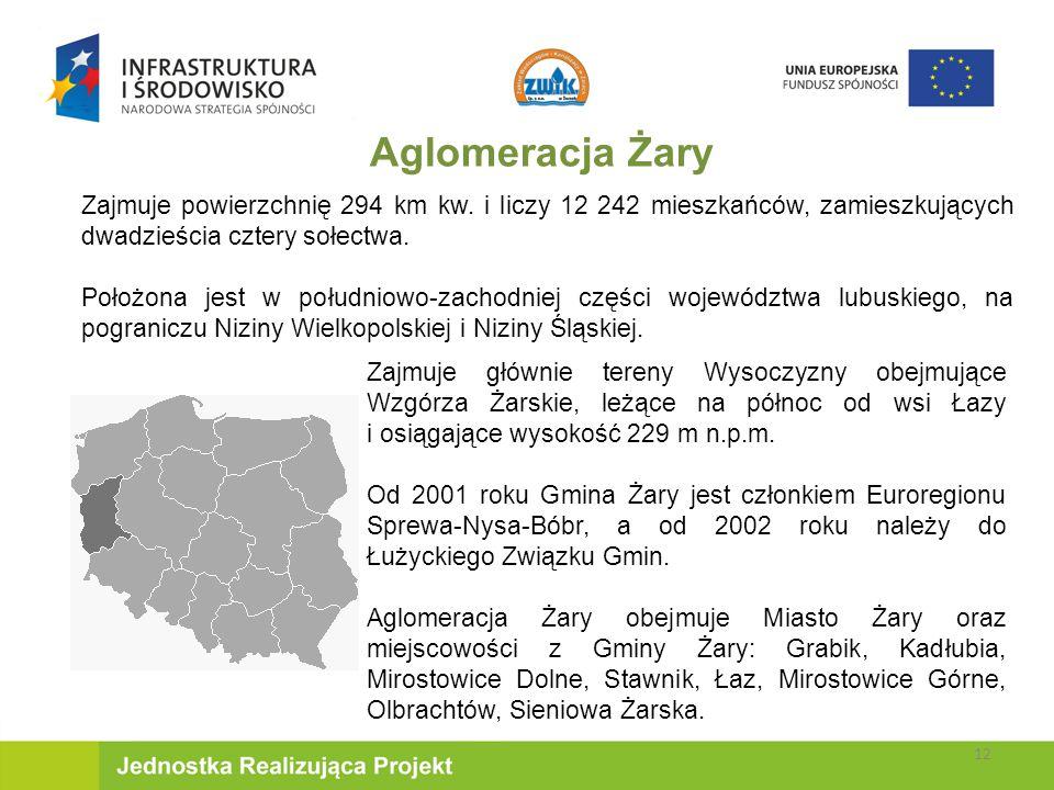 Zajmuje głównie tereny Wysoczyzny obejmujące Wzgórza Żarskie, leżące na północ od wsi Łazy i osiągające wysokość 229 m n.p.m.