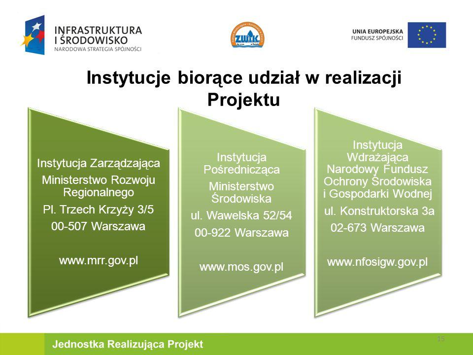 Instytucje biorące udział w realizacji Projektu Instytucja Zarządzająca Ministerstwo Rozwoju Regionalnego Pl.