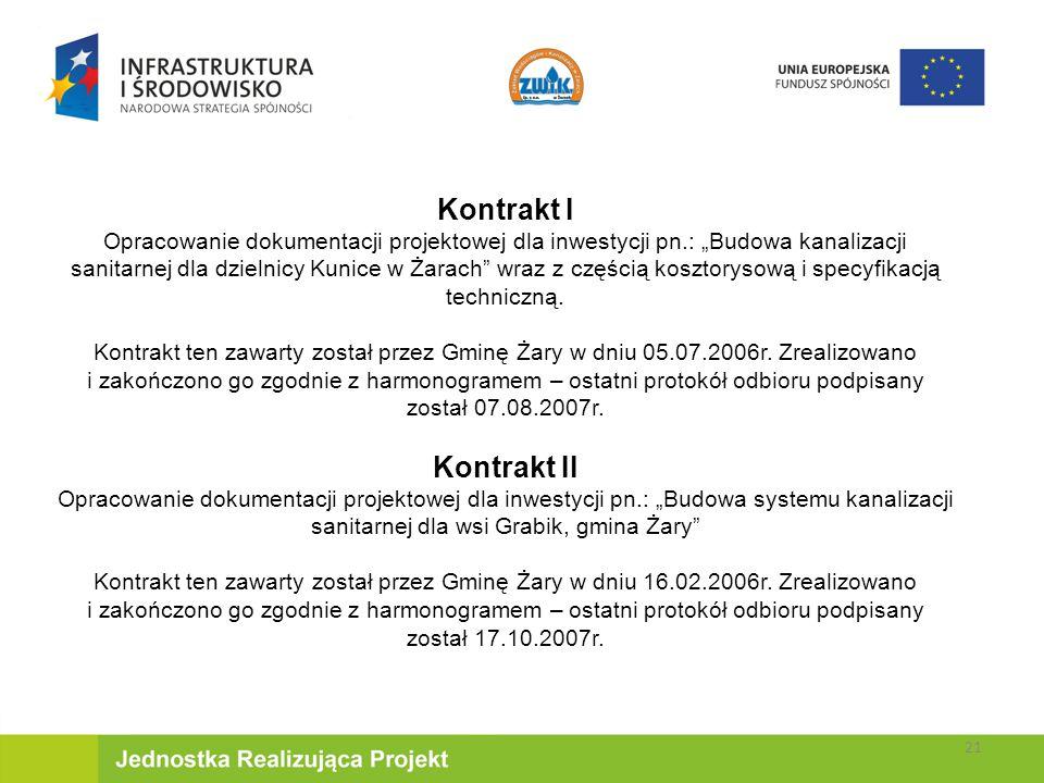 """Kontrakt I Opracowanie dokumentacji projektowej dla inwestycji pn.: """"Budowa kanalizacji sanitarnej dla dzielnicy Kunice w Żarach wraz z częścią kosztorysową i specyfikacją techniczną."""