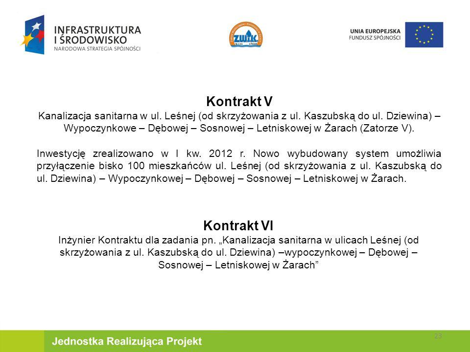 Kontrakt V Kanalizacja sanitarna w ul.Leśnej (od skrzyżowania z ul.
