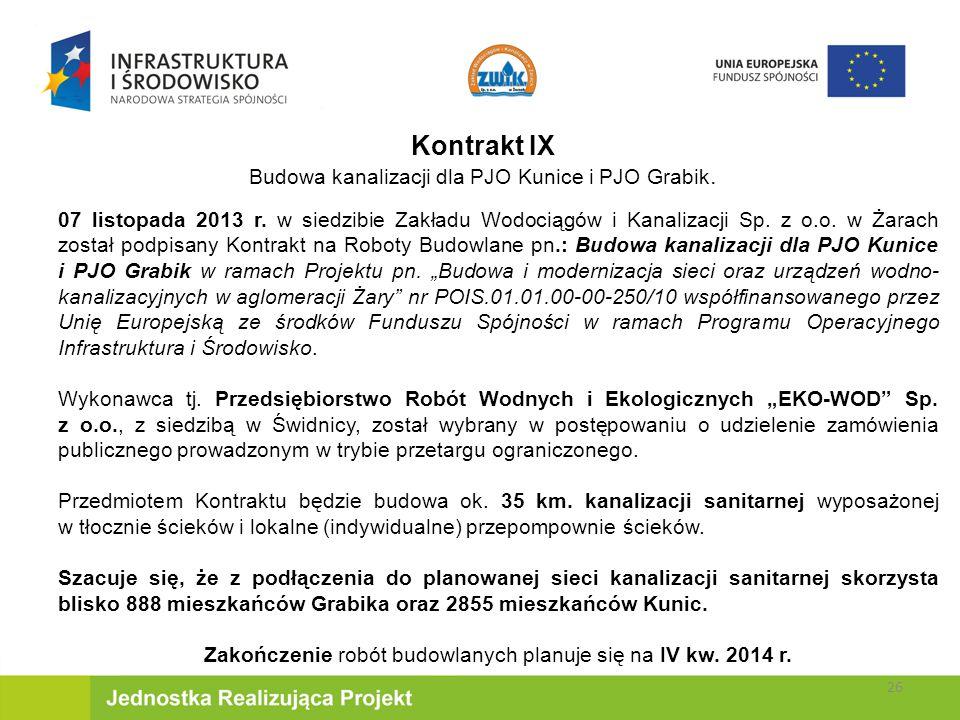 Kontrakt IX Budowa kanalizacji dla PJO Kunice i PJO Grabik.