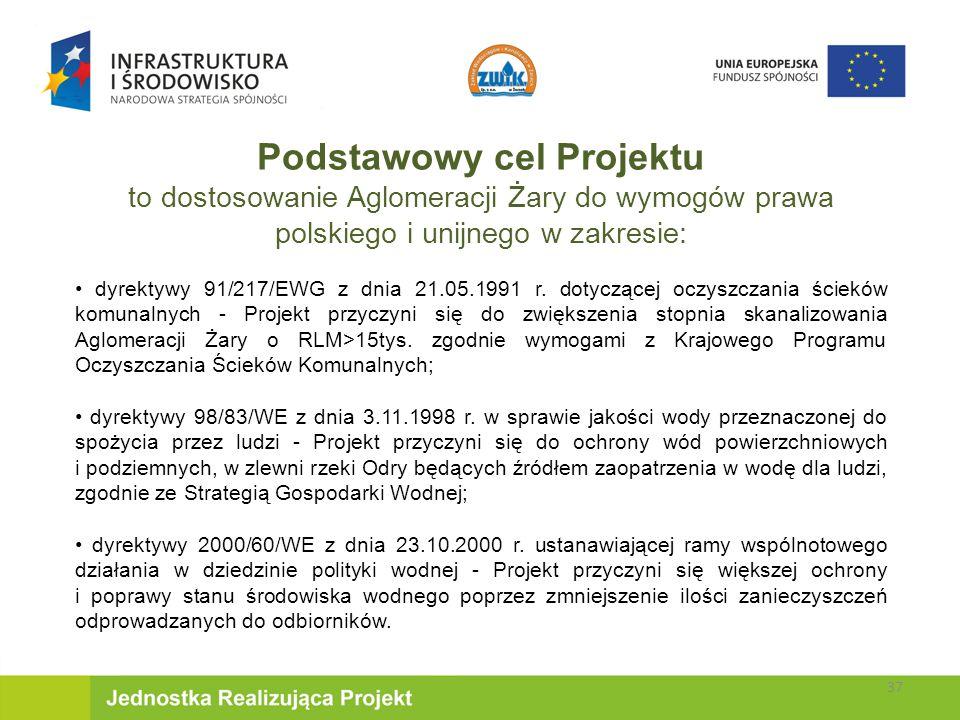 Podstawowy cel Projektu to dostosowanie Aglomeracji Żary do wymogów prawa polskiego i unijnego w zakresie: dyrektywy 91/217/EWG z dnia 21.05.1991 r.