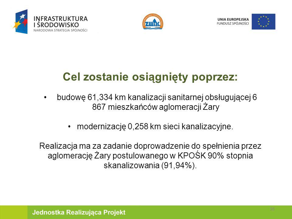 Cel zostanie osiągnięty poprzez: budowę 61,334 km kanalizacji sanitarnej obsługującej 6 867 mieszkańców aglomeracji Żary modernizację 0,258 km sieci kanalizacyjne.