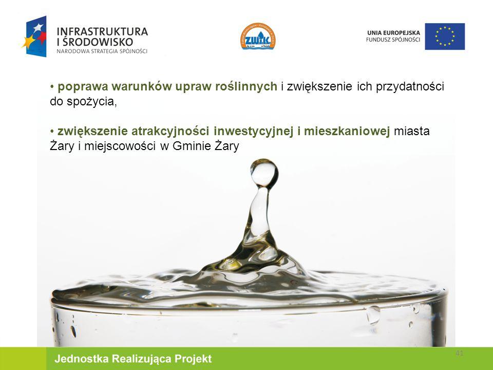 poprawa warunków upraw roślinnych i zwiększenie ich przydatności do spożycia, zwiększenie atrakcyjności inwestycyjnej i mieszkaniowej miasta Żary i miejscowości w Gminie Żary 41