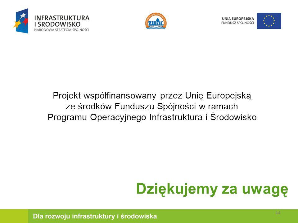 Dziękujemy za uwagę Projekt współfinansowany przez Unię Europejską ze środków Funduszu Spójności w ramach Programu Operacyjnego Infrastruktura i Środowisko 44