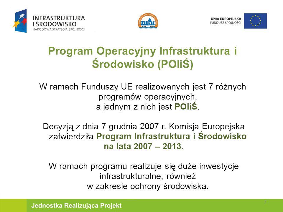 W ramach Funduszy UE realizowanych jest 7 różnych programów operacyjnych, a jednym z nich jest POIiŚ.