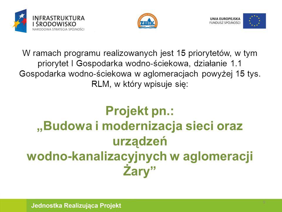 W ramach programu realizowanych jest 15 priorytetów, w tym priorytet I Gospodarka wodno ‐ ściekowa, działanie 1.1 Gospodarka wodno ‐ ściekowa w aglomeracjach powyżej 15 tys.