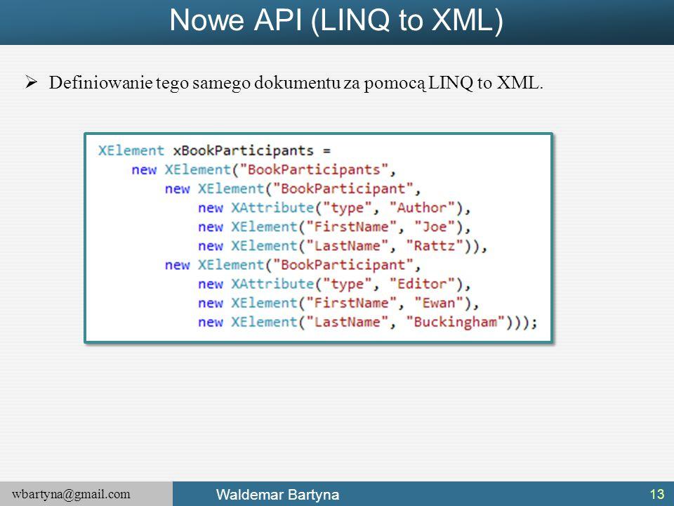 wbartyna@gmail.com Waldemar Bartyna  Definiowanie tego samego dokumentu za pomocą LINQ to XML. Nowe API (LINQ to XML) 13
