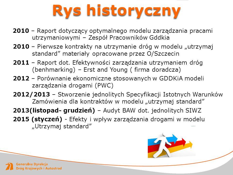 Rys historyczny 2010 – Raport dotyczący optymalnego modelu zarządzania pracami utrzymaniowymi – Zespół Pracowników Gddkia 2010 – Pierwsze kontrakty na
