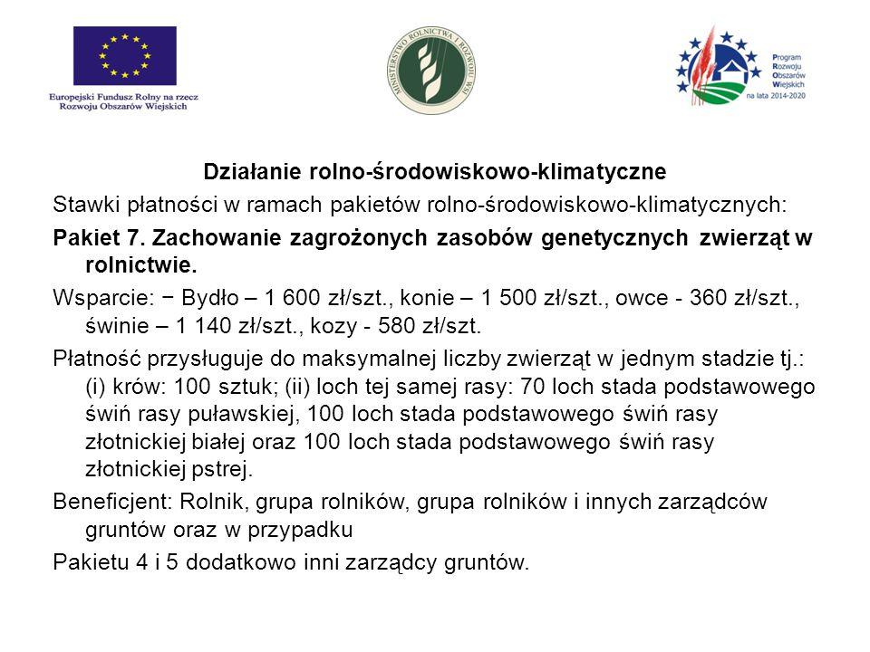 Działanie rolno-środowiskowo-klimatyczne Degresywność:  W ramach działania, dla Pakietów 1., 2., 4.