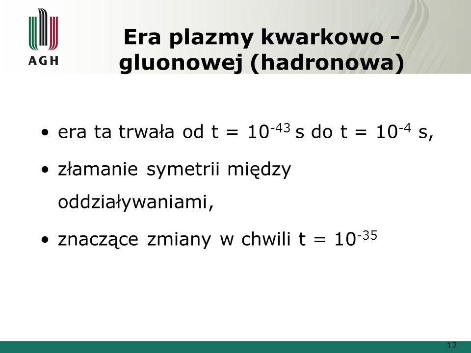 Era plazmy kwarkowo - gluonowej (hadronowa) era ta trwała od t = 10 -43 s do t = 10 -4 s, złamanie symetrii między oddziaływaniami, znaczące zmiany w chwili t = 10 -35 12